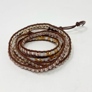 VICTORIA EMERSON Leather Wrap Bracelet Crystals